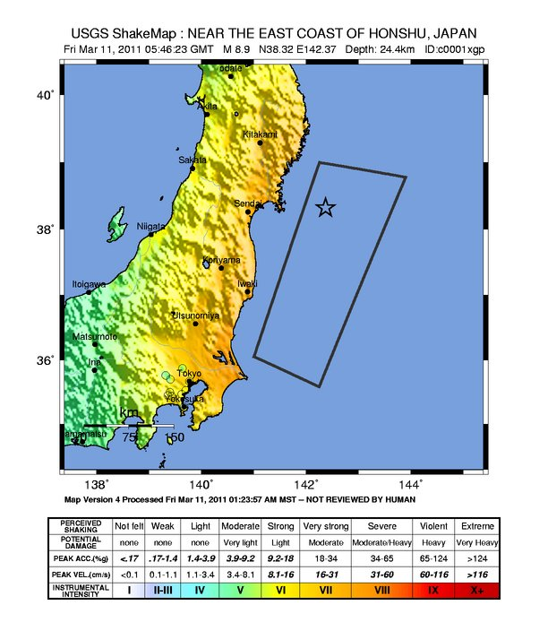 New England Seismic Network Significant Earthquakes - Japan quake map 2016